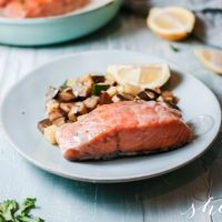 Pan Seared Salmon with Creamy Sauce and Sauteed Vegetables