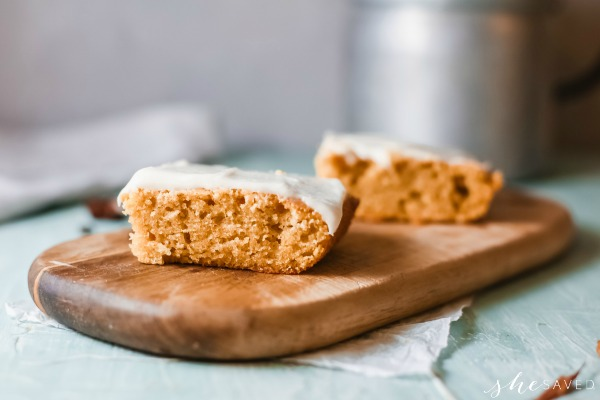 Recipe for making pumpkin bars with homemade cream cheese frosting