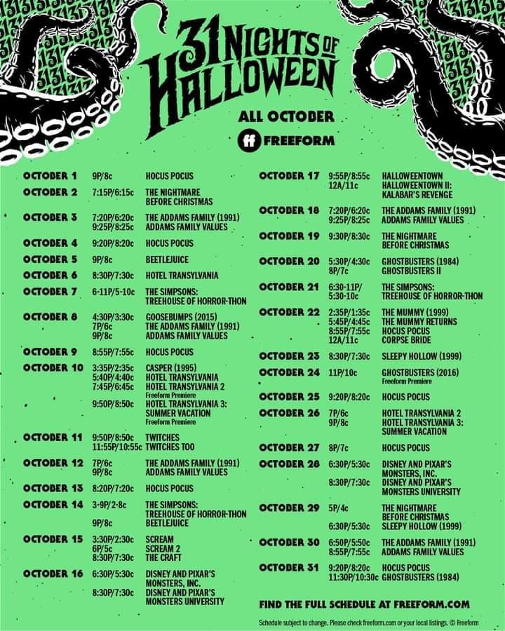 31 Days Of Halloween Line Up 2020 2020 Freeform 31 Nights of Halloween Movie Schedule   SheSaved®