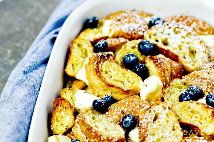 Eggnog breakfast french toast with blueberries
