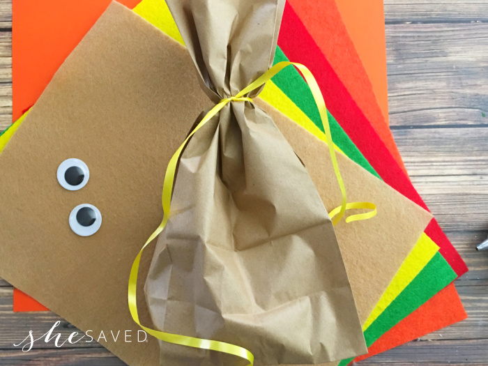 Paper Bag Turkey Craft filled with candy