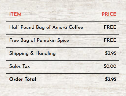 coffee checkout deal