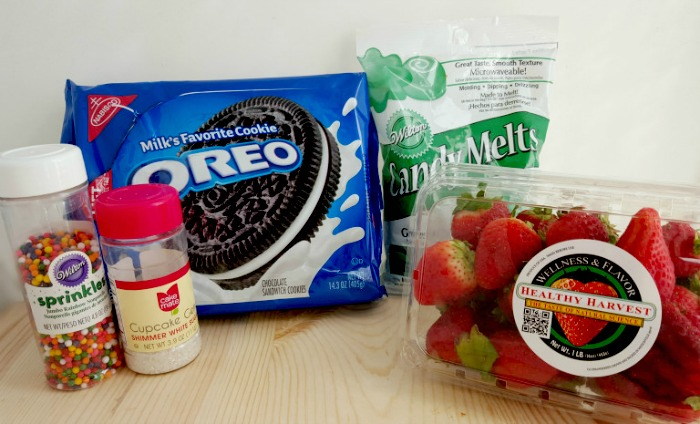 Ingredients for making Chocolate Strawberry Christmas Trees