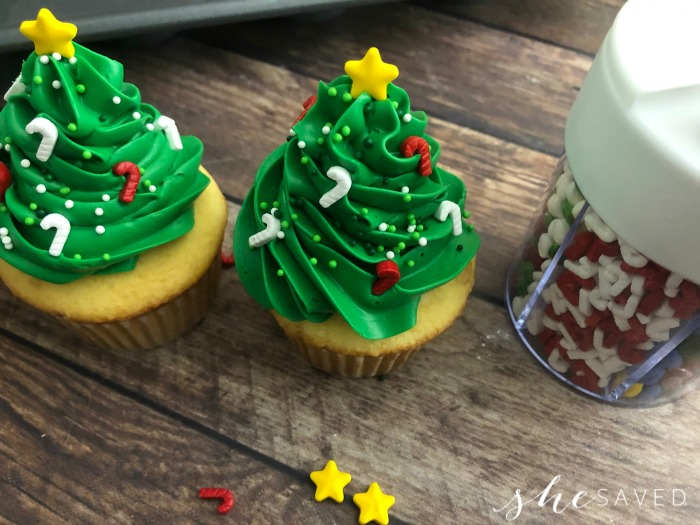 Christmas Tree cupcake sprinkles
