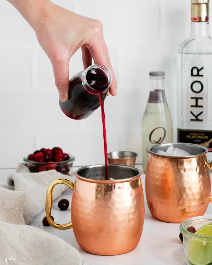 Cranberry Juice in Moscow Mules