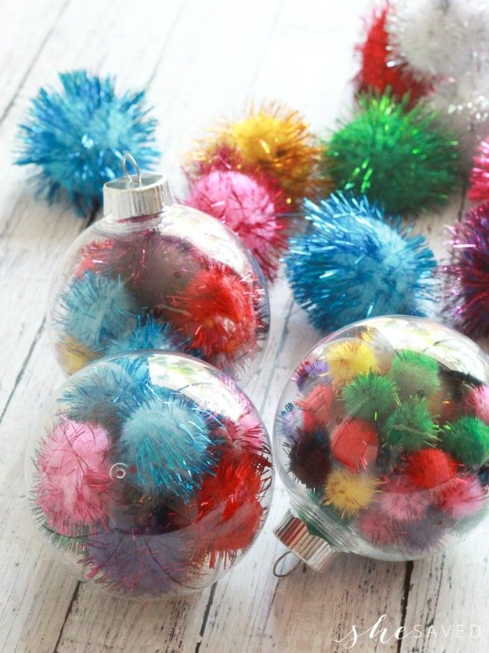 cute stuffed pom pom ornaments