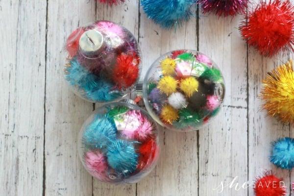 easy pom pom filled ornaments