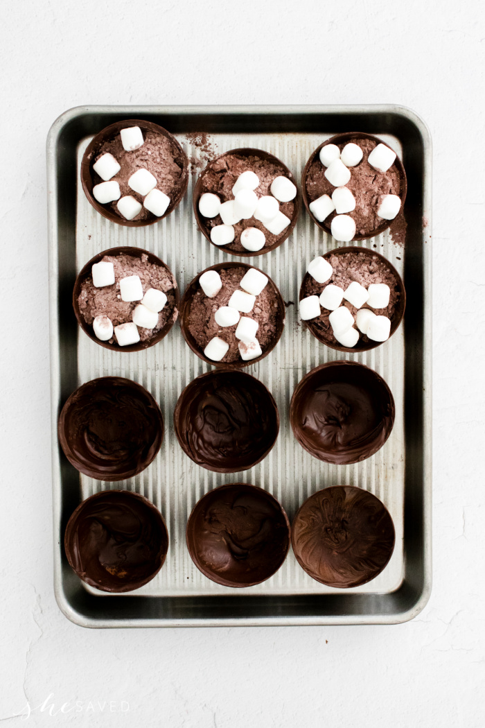Filling Chocolate Bombs with Hot Chocolate Powder and Marshmallows