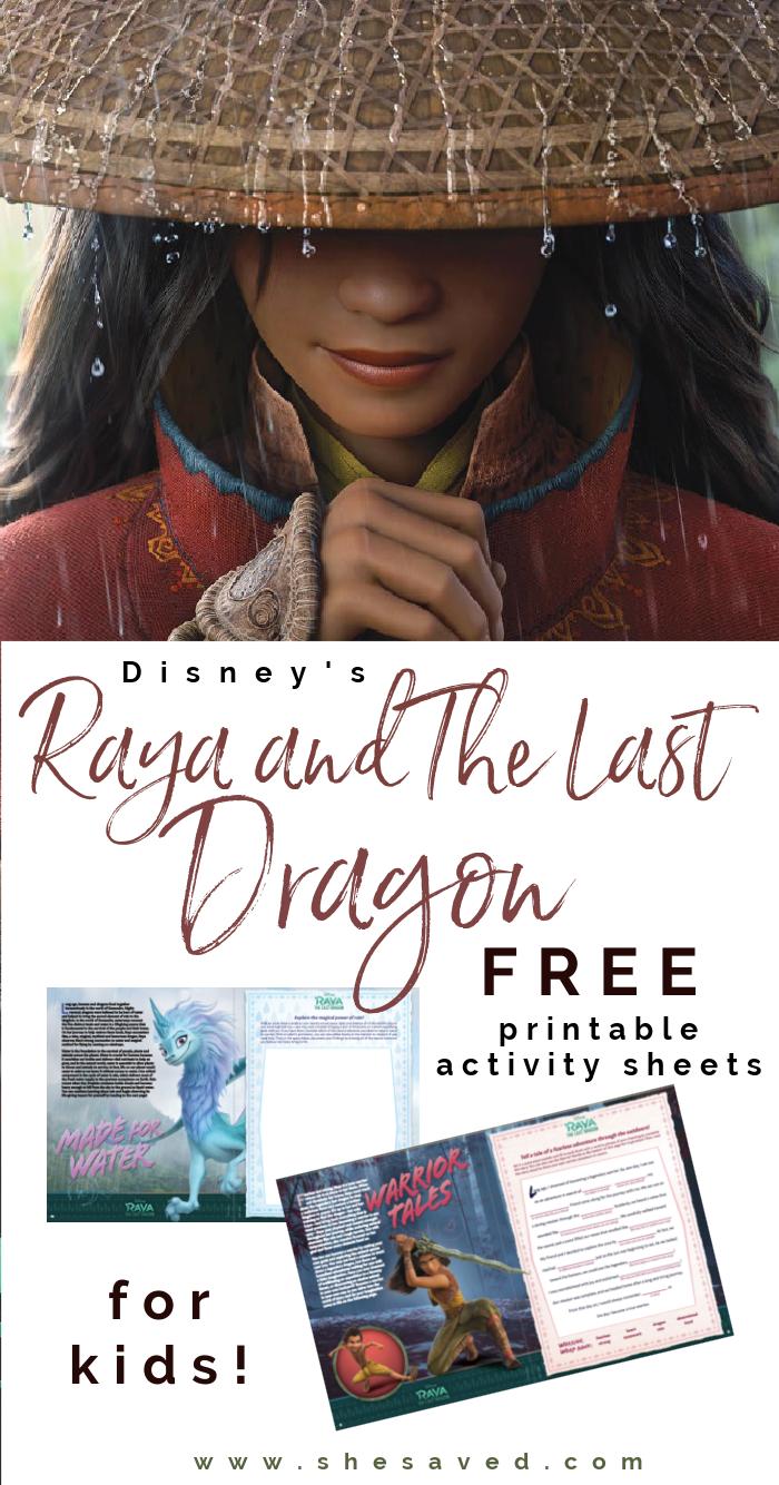 Disney's Raya and the Last Dragon FREE Printable Activity Sheets for Kids