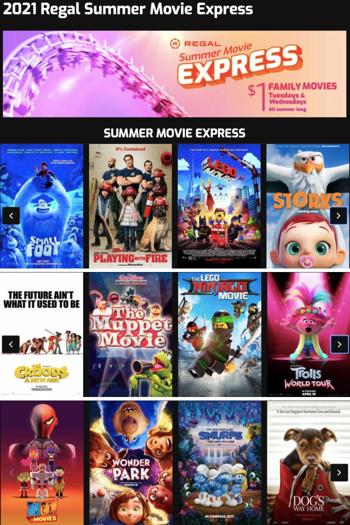 2021 Regal Cinemas $1 Summer Movie Schedule Calendar