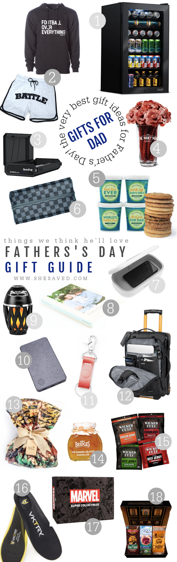 Different gift ideas for dad for Father's Day like a beer fridge, life story book, luggage, ice cream and cookies, cell phone charger and more!