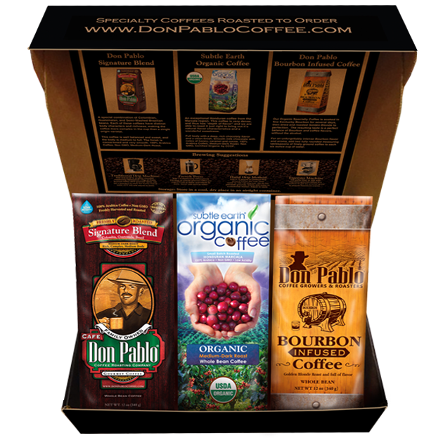 Box of Don Pablo Coffee Sampler including 3 bags of whole bean coffee
