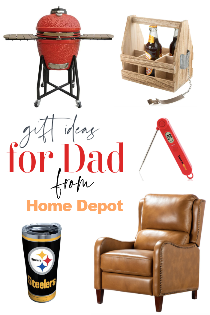 Collection of gift ideas from Home Depot including a recliner, BBQ, Tervis Tumbler and a beer caddy