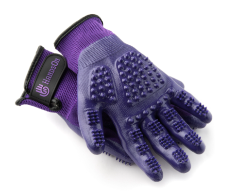 Purple HandsOn Gloves for Pet Grooming