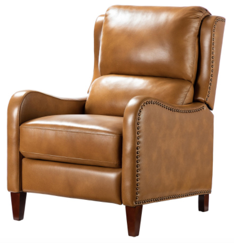 The Hyde Camel Nailhead Genuine Leather Recliner in brown from Home Depot makes a great gift for dad