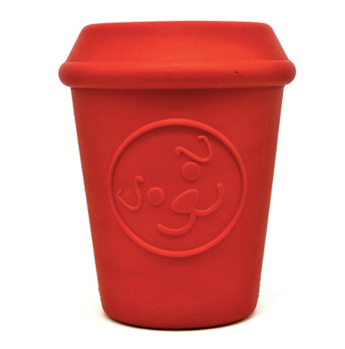 Red SodaPup Dog Toy shaped like a coffee cup