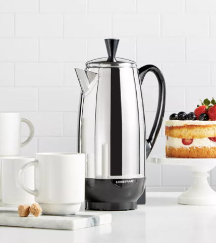Farberware Percolator with coffee cups and breakfast dessert