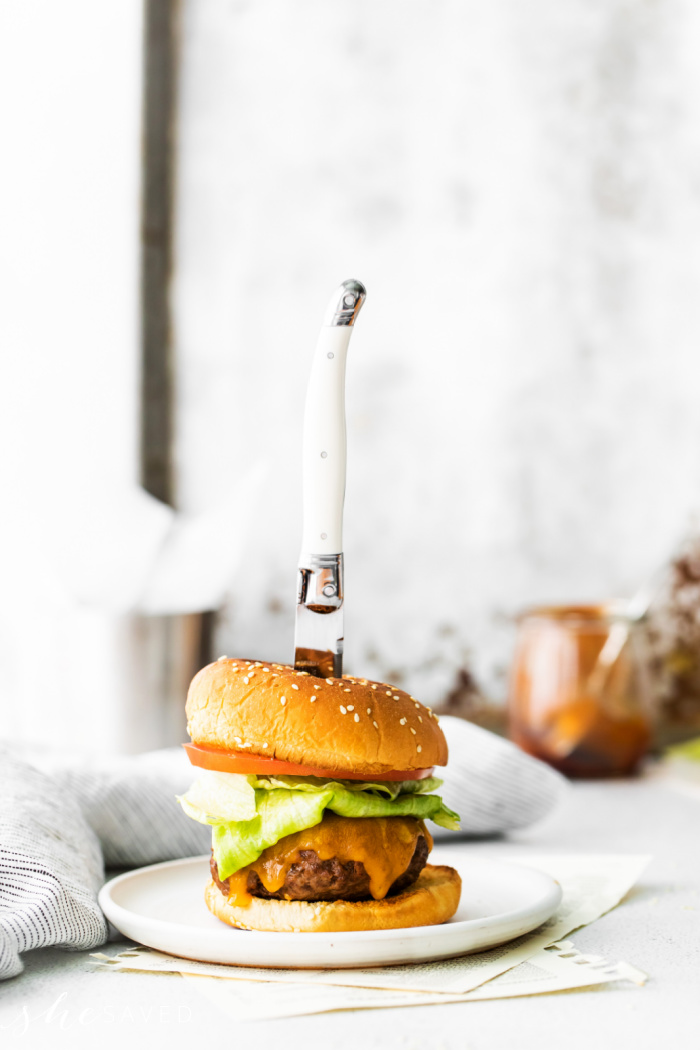 Fancy cheeseburger with toppings
