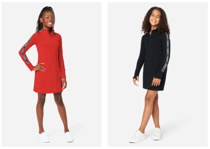 Sporty dresses with zipper in the front