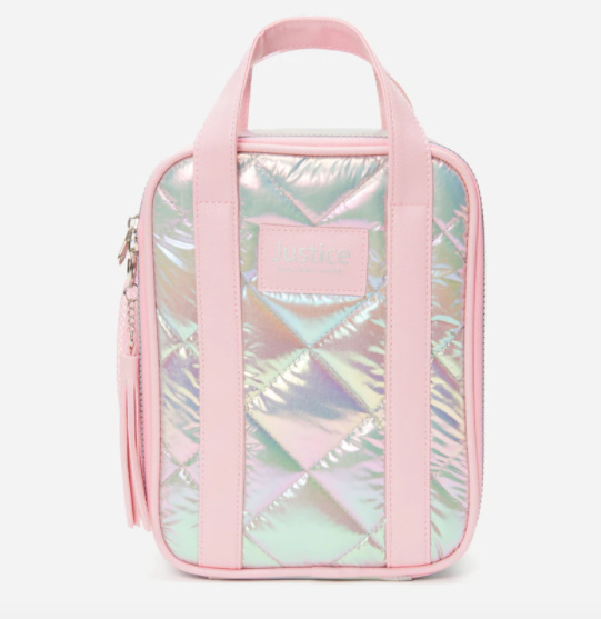 Pink metallic lunch tote from Justice