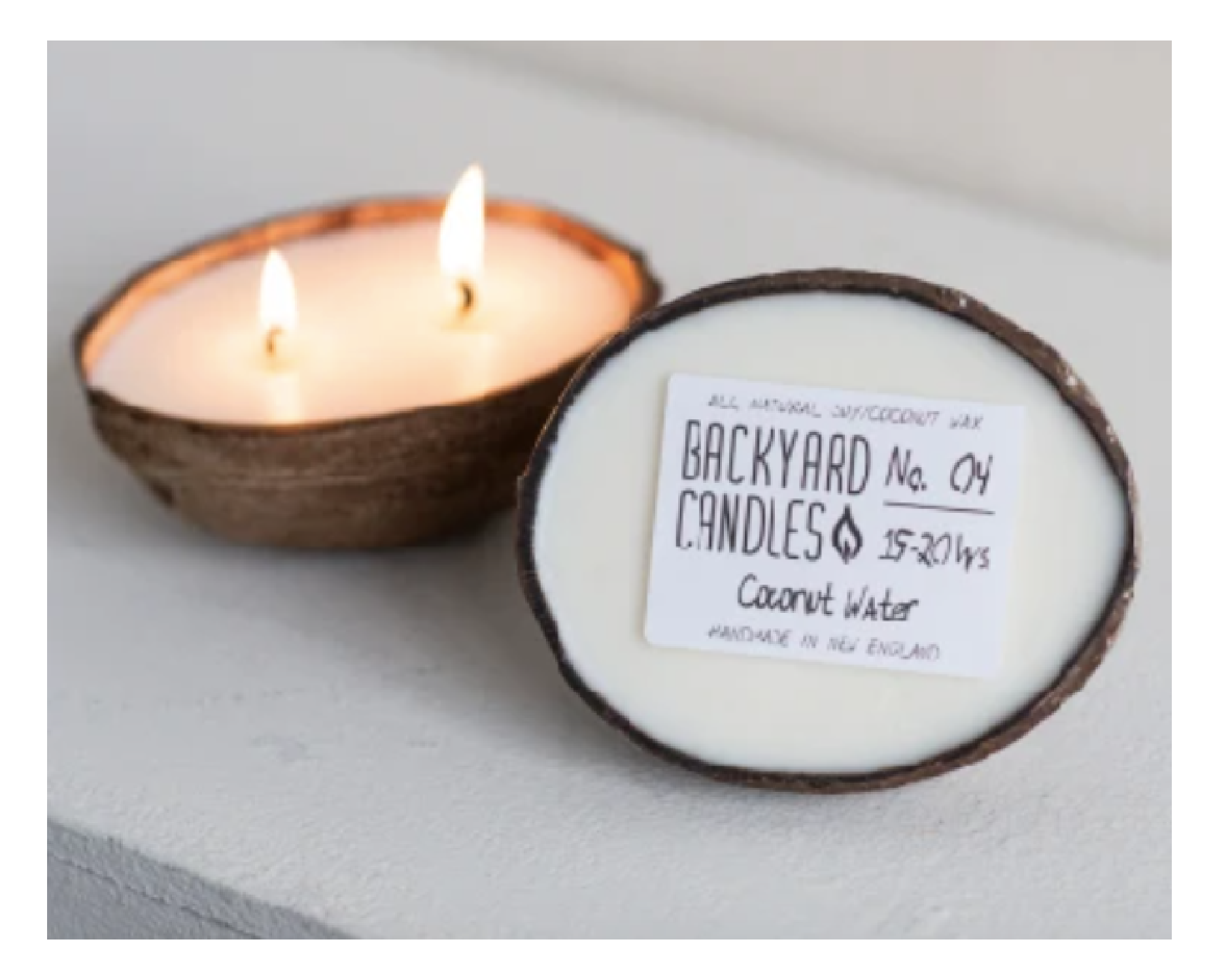 Candle in a Coconut shell from Backyard Candle Company