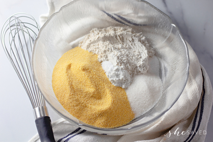 dry ingredients in a bowl for corn dog batter