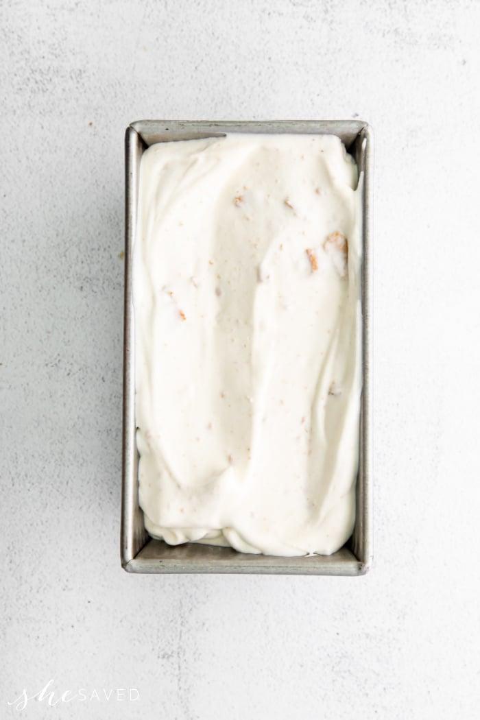 Metal bread pan for making no-churn ice cream