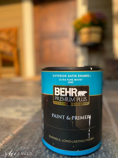 can of behr paint on the front porch