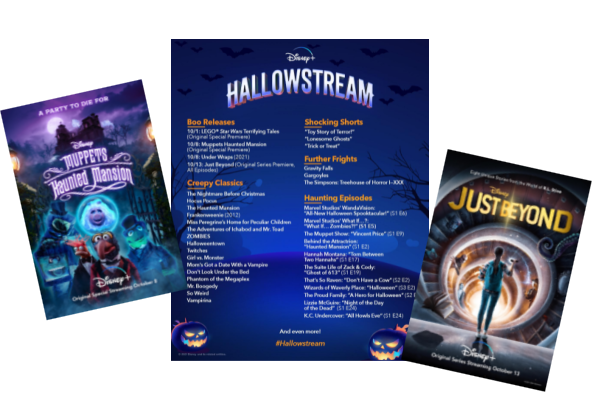 movie posters and calendar for Disney + Hallowstream
