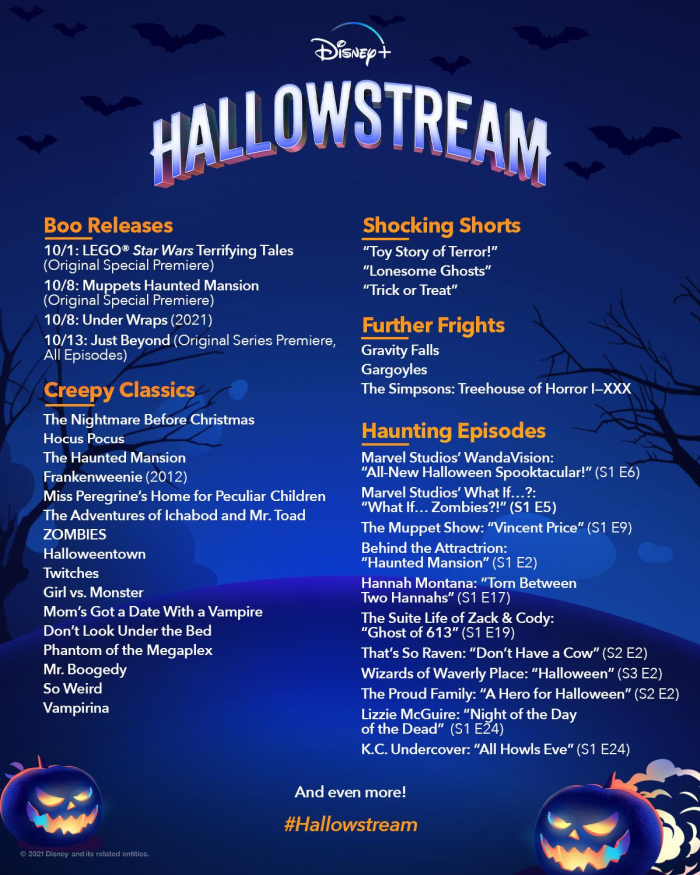 listing of all Disney Plus Hallostream movies