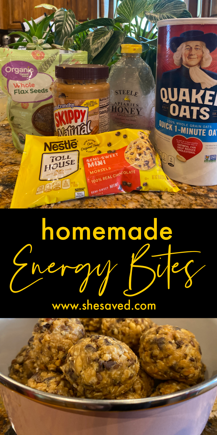 ingredients and close up of protein energy balls in a tin