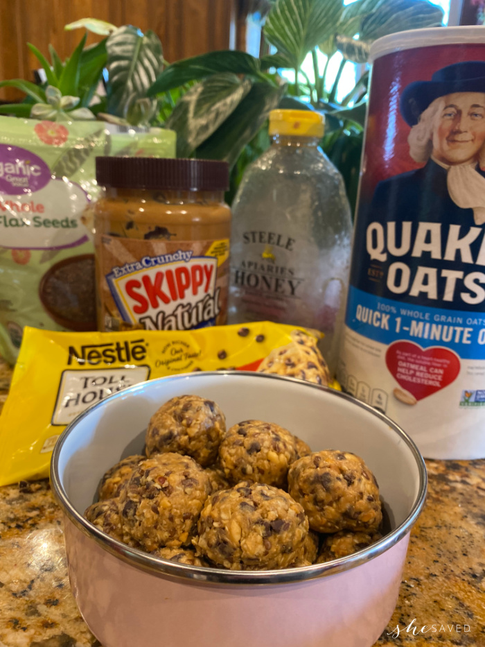 homemade protein balls and all 5 ingredients