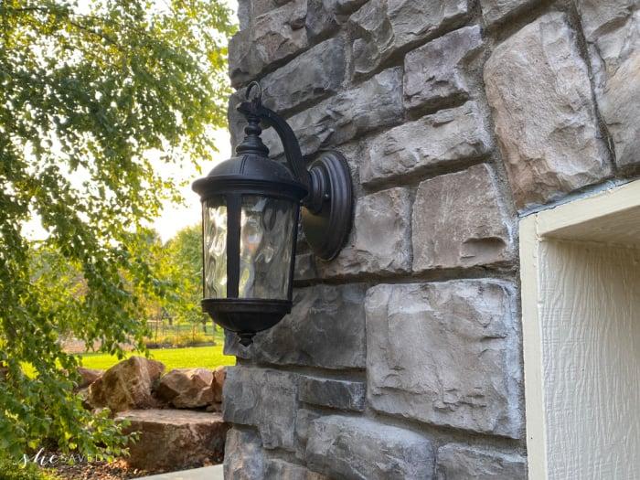 Light fixture above garage door