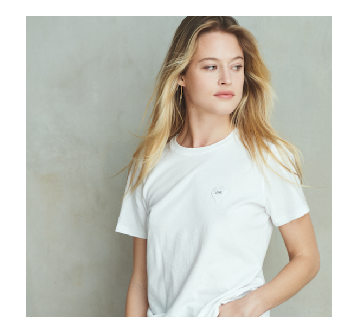 White t-shirt with heart patch