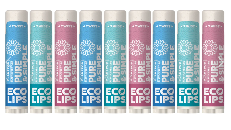 row of eco lips chap sticks lined up