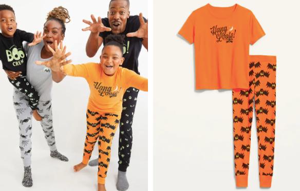 Black family in Halloween Pajamas